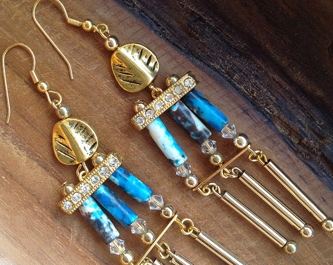Handmade Tribal Earrings, Boho • Bone, Dangle, Leaf , Gold, Crystal, Sexy, Rhinestone, Unique, Festival (Royal Native Earrings (set 2)