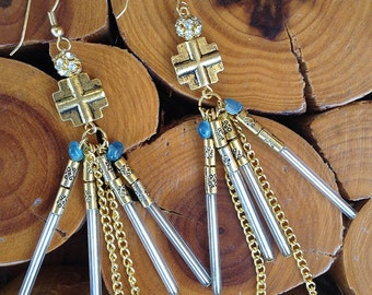 Handmade Cross Earrings, Boho, Sexy, Dangle, Chain, Rhinestone, Royal, Celebrity, Runway earrings, Unique (Royal Treasure Earrings (set one)