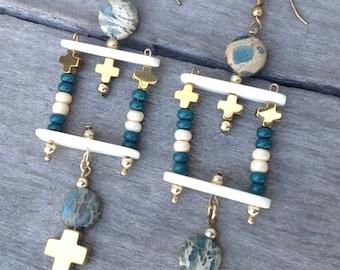 UNIQUE Handmade Tribal Earrings, Boho, African Turquoise, Cross, Festival, Goddess, Gypsy, Sexy, Bone, Celebrity (Jungle Paradise Earrings)