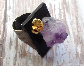 Handmade Charka Ring, Crystal Stone Ring, Healing, Onyx Ring, Amethyst ring, Energy, Power, Meditation, Festival, Unique Ring, Yoga Gift