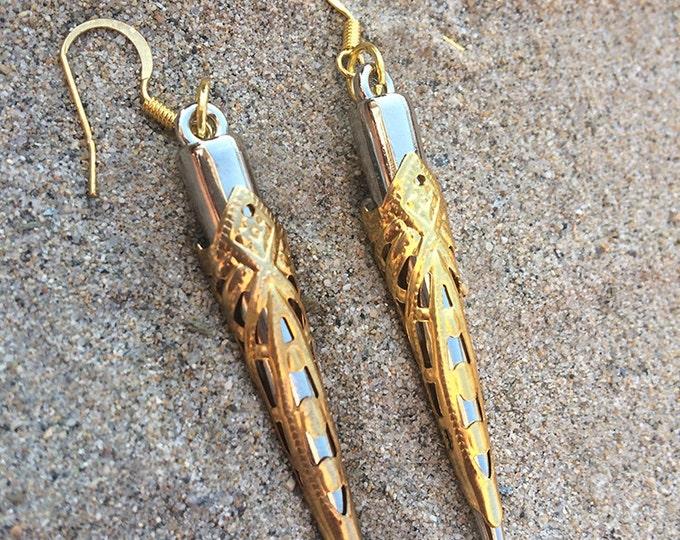 Featured listing image: Handmade Tribal Earrings, Spike earrings, Boho, Medieval earrings, Sexy, Gold & Silver, Festival, ONE OF A KIND (Intricate Blade Earrings)
