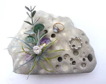 Handmade Rock Decor, Hag Stone, Healing Crystals, Air Plant decor, Rock Gift, Crystal Decor, Healing Rock, Quartz Decor, Chakra Decor, Witch
