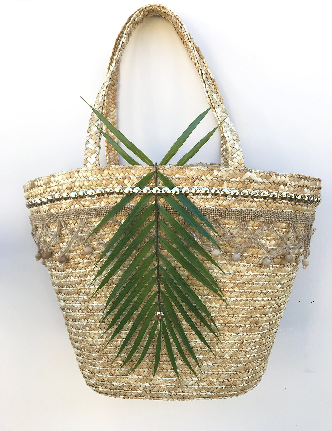 Handmade Unique Straw Coconut Leaf Bag Boho Summer Beach