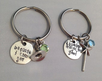 For Good- Because I Knew You, I have been changed for good Swarovski Elphaba and Galinda Wicked Musical Keychains (Set of 2)
