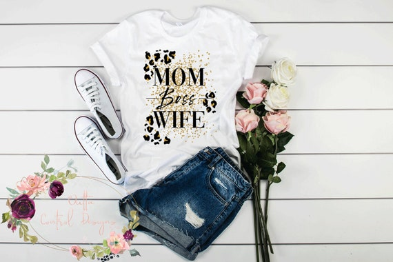Graphic Print Tee Mother/'s Day Leopard Graduation Gift Cheetah Mom Boss Wife Anniversary Gift
