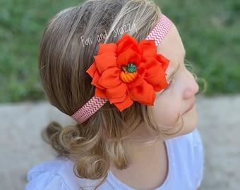 Pumpkin headband, Baby pumpkin headband, Orange headband, Orange flower headband, Flower pumpkin headband, Orange white headband, Fall baby
