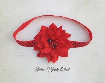 Ladybug headband. Lady bug birthday. Infant headbands. Newborn headband. Baby red headband. Birthday headband. Red headband. Baby headband
