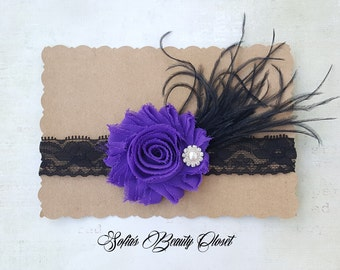 Purple Black headband. Purple headband. Fancy headbands. Easter headband. Girls Easter. Flower girl headband. Flower headband. kid headband.