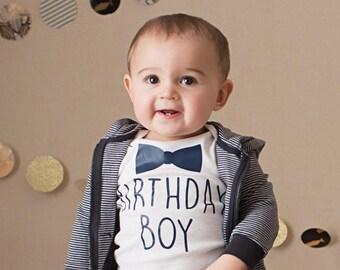 Birthday Boy Bodysuit - Bowtie Bodysuit - First Birthday Outfit - Boy Birthday Outfit - Birthday Bodysuit - Smashcake - First Birthday