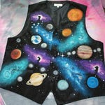 Galaxy Print Formal Vest - Hand Painted, Mens Formal Vest, Nebula, Custom Painted, Stars, Cosmos, Womens Vest, Tuxedo Vest, Special Event