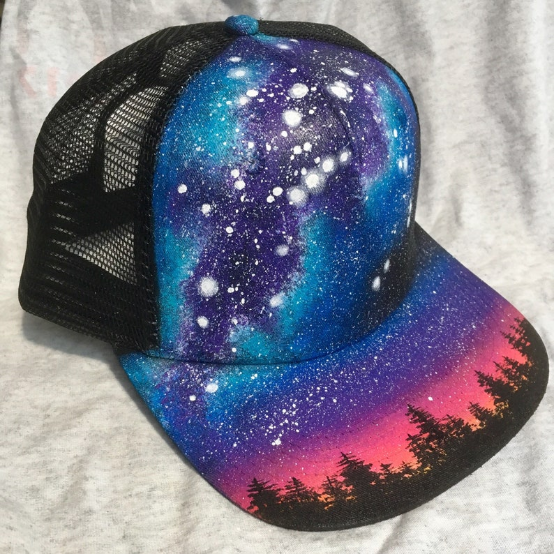Custom Painted Galaxy Flat Bill Snapback Trucker Hat  Milky image 0