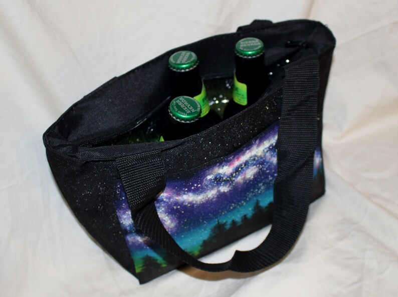 Insulated Cooler Bag  Hand Painted Galaxy Milky Way image 0