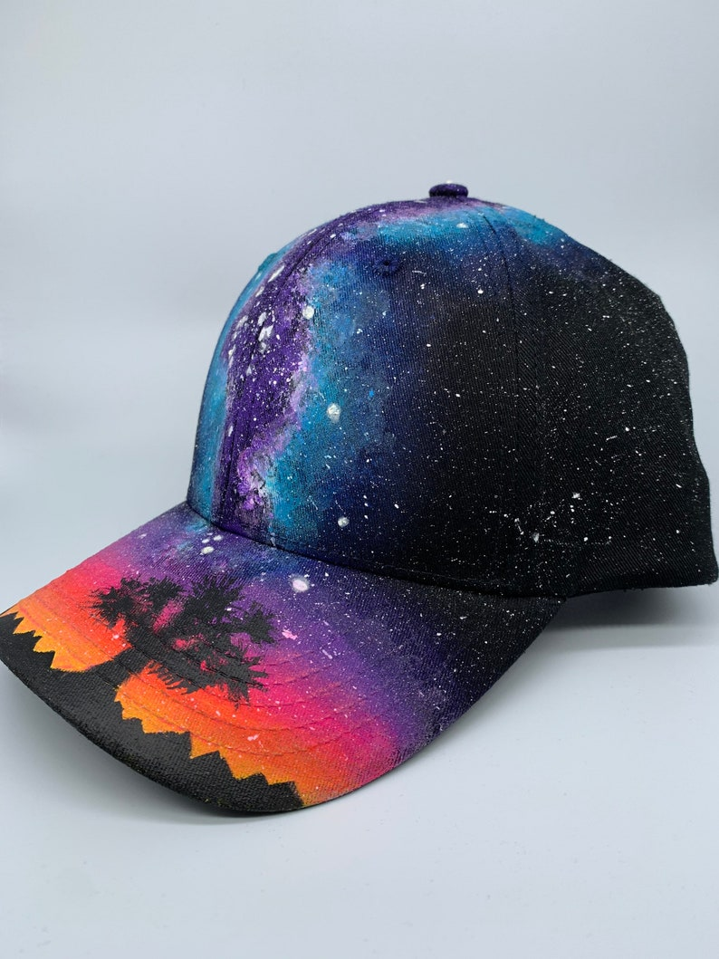 Galaxy Baseball Hat  Custom Painted Milky Way Forest image 0