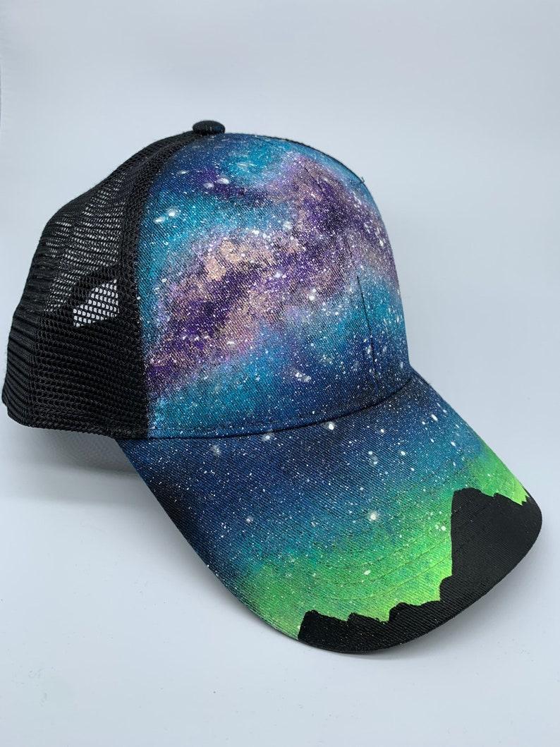 Custom Painted Galaxy Snapback Trucker Hat  Milky Way image 0