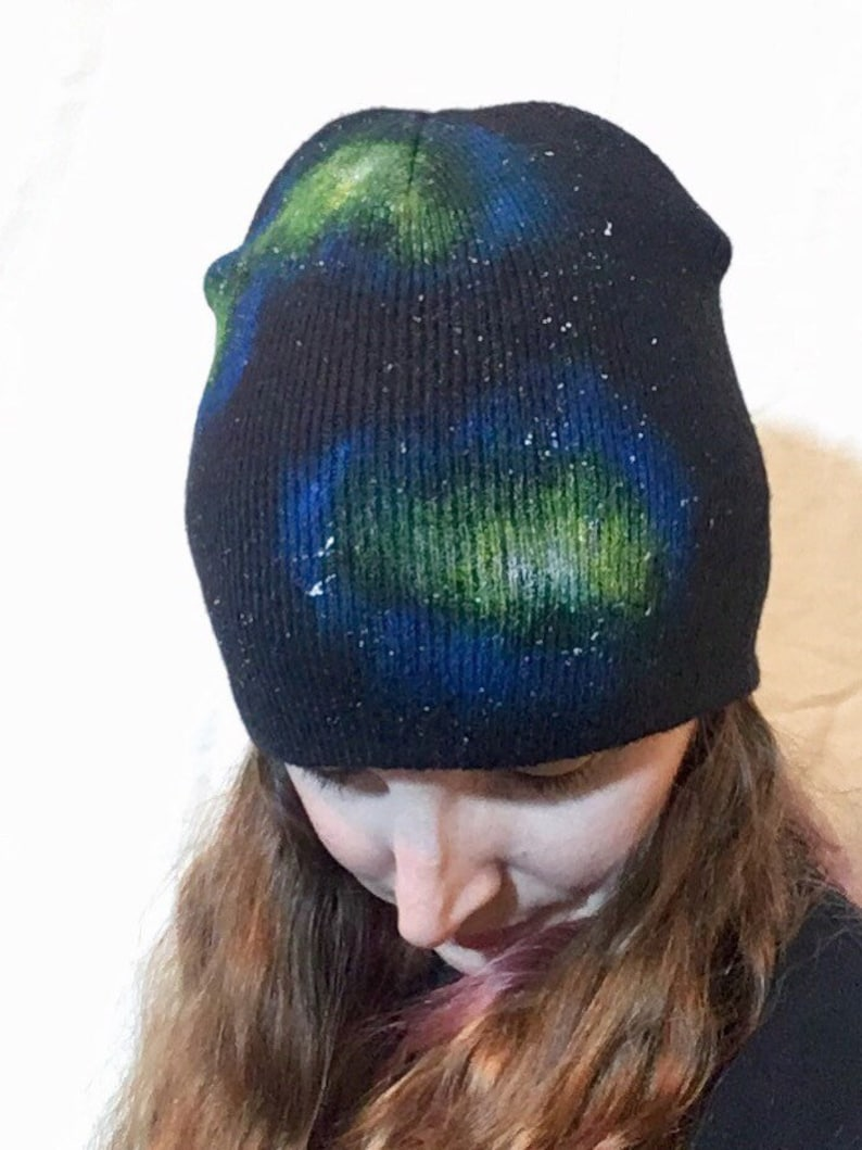 Galaxy Beanie Cosmic Winter Hat Painted Green Blue image 0