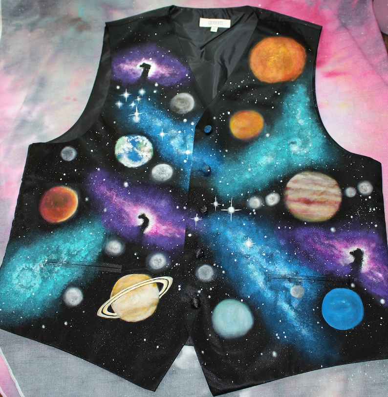 Galaxy Print Formal Vest  Hand Painted Mens Formal Vest image 0