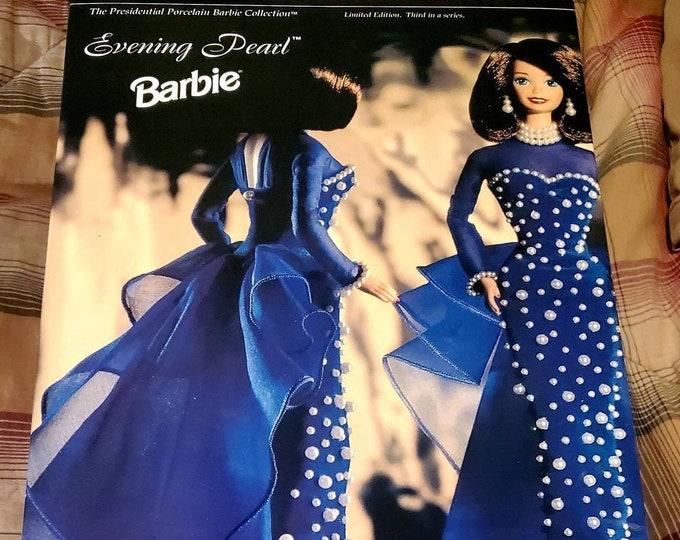 Evening Pearl Barbie Doll Presidential Porcelain Barbie Collection, 1995. Vintage Barbie Doll NIB, Limited Edition, Collector Series