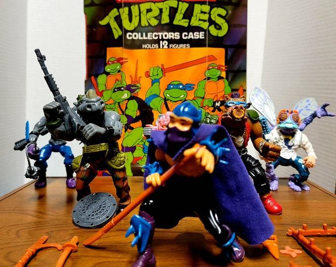 TMNT, Teenage Mutant Ninja Turtles Action Figures!  Shredder, Bebop, Rocksteady, Krang, Foot Soldier, Baxter Stockman. W/Equipment and Case!