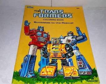 """The TRANSFORMERS Vintage Coloring Book """"Bumblebee to the Rescue"""", Vintage Transformers Book in Good Used Vintage Condition!"""