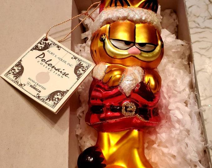 Retired Komozja Polonaise Garfield the Cat Blown Glass Christmas Ornament Kurt S. Adler Polonaise Collection Vintage Christmas