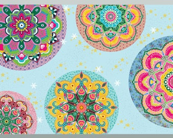 Removable Light Blue Wallpaper Border, Moroccan inspired Wallpaper, Hippie Wall Decor, Mandala Border, Colorful Border