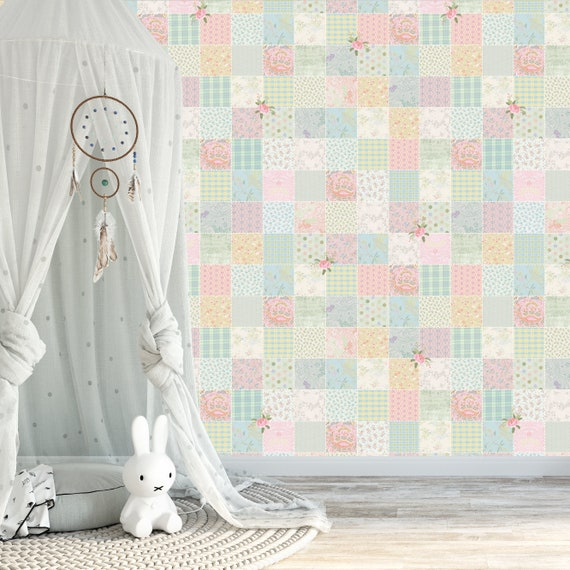 Patchwork Wallpaper Nursery Wallpaper Baby Nursery Wallpaper Girls Nursery Wallpaper Textured Wallpaper 50s Wall Decor Boho Wallpaper