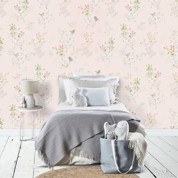 Removable Light Pink Wallpaper Japanese Bird Wallpaper Peel Stick Wallpaper Pastel Pink Decor Classic Nursery Wallpaper Relaxing Decor
