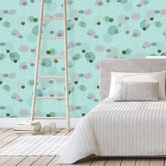 Turquoise Flower Wallpaper, Removable Wallpaper, Self Stick Wallpaper,  Bohemian Bedroom Wallpaper, Peel Stick Wallpaper, Retro Wallpaper 50s