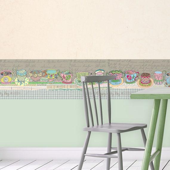 Kitchen Backsplash Wallpaper, Retro Kitchen Wallpaper, Kitchen Border, Gray  Wallpaper Border, Self Adhesive Removable Wall Art, Cups Design