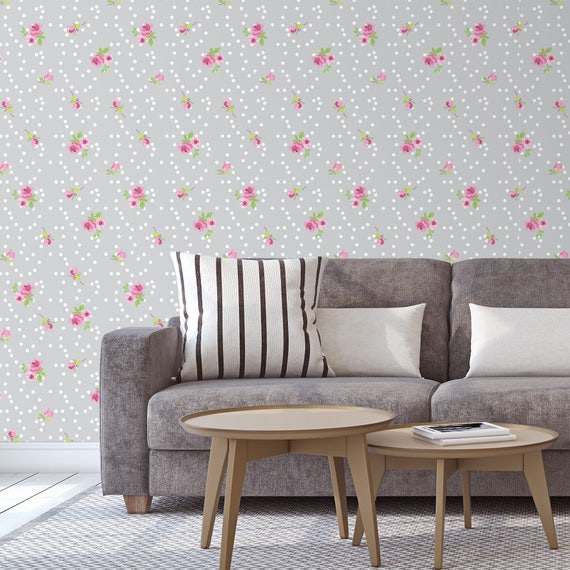 Roses Wallpaper, Gray Vintage Style Wallpaper, Living Room wallpaper,  Romantic Removable Wall Covering, Bedroom Decor, Gray Floral Wallpaper