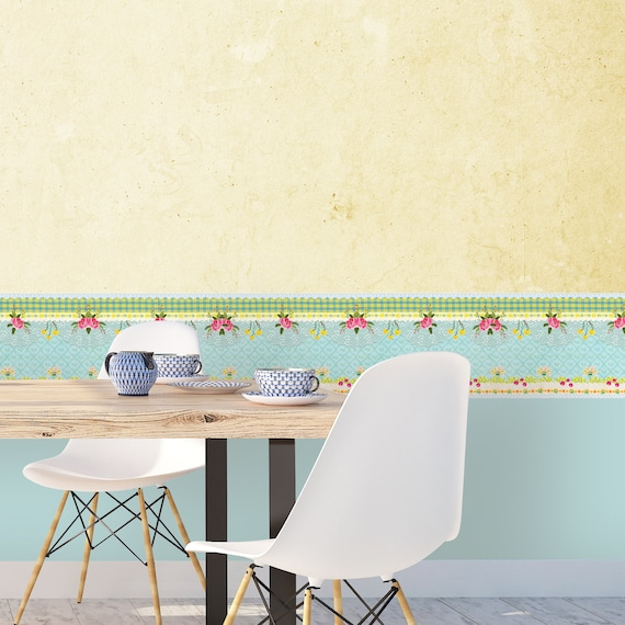 Floral Wallpaper Border Blue Wallpaper Border Wallpaper Border Self Adhesive Wallpaper Border Room Border Removable Wall Border Decals