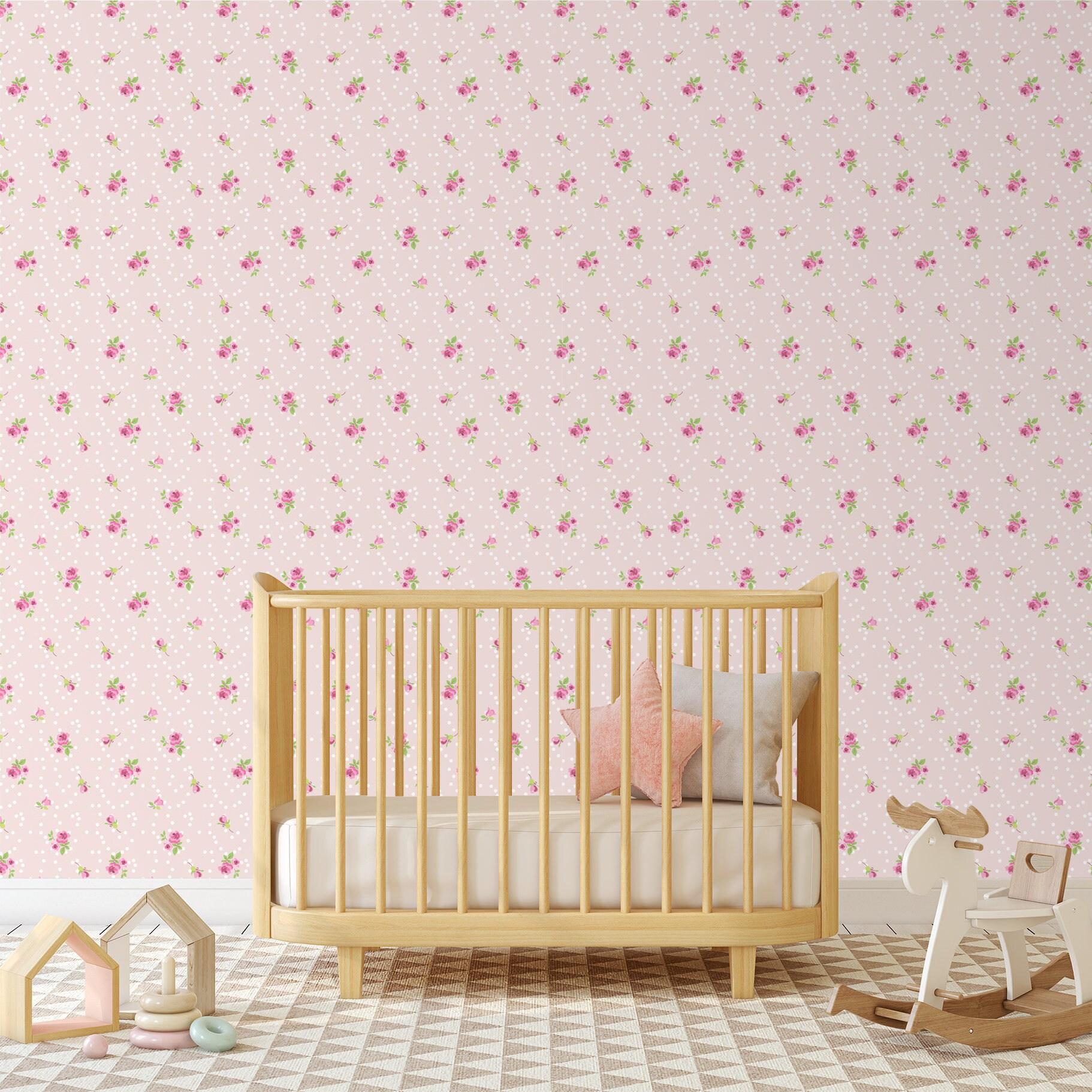 pink removable wallpaper peel and stick wallpaper romantic etsy. Black Bedroom Furniture Sets. Home Design Ideas