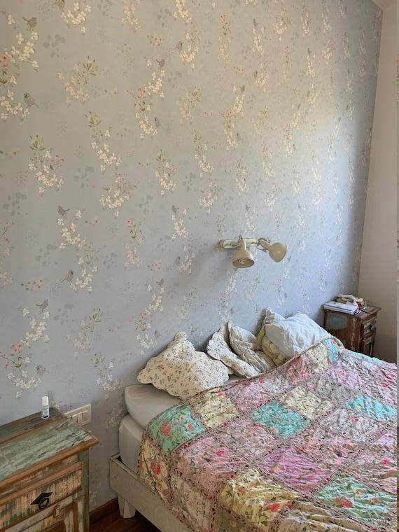 Flowers and Birds Wallpaper, Delicate Vintage Wallpaper, Textured  Wallpaper, Bedroom Wallpaper, Floral Wallpaper