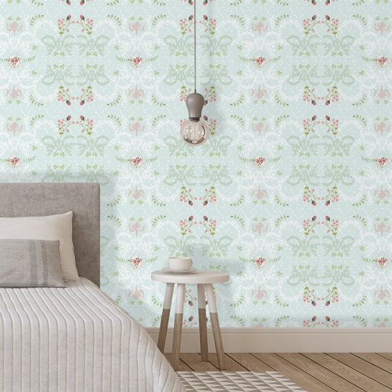. French Style Wallpaper  Mint Green Removable Wallpaper  Bedroom Wall Decor   Ethnic Boho Wallpaper  Peel and Stick Wallpaper  French Decor