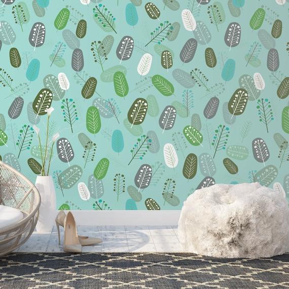 Fond Décran Amovible Scandinave Feuilles Géométriques Automne Fond Décran Fond Décran Vert Turquoise Rétro Kitchen Cozy Wallpaper
