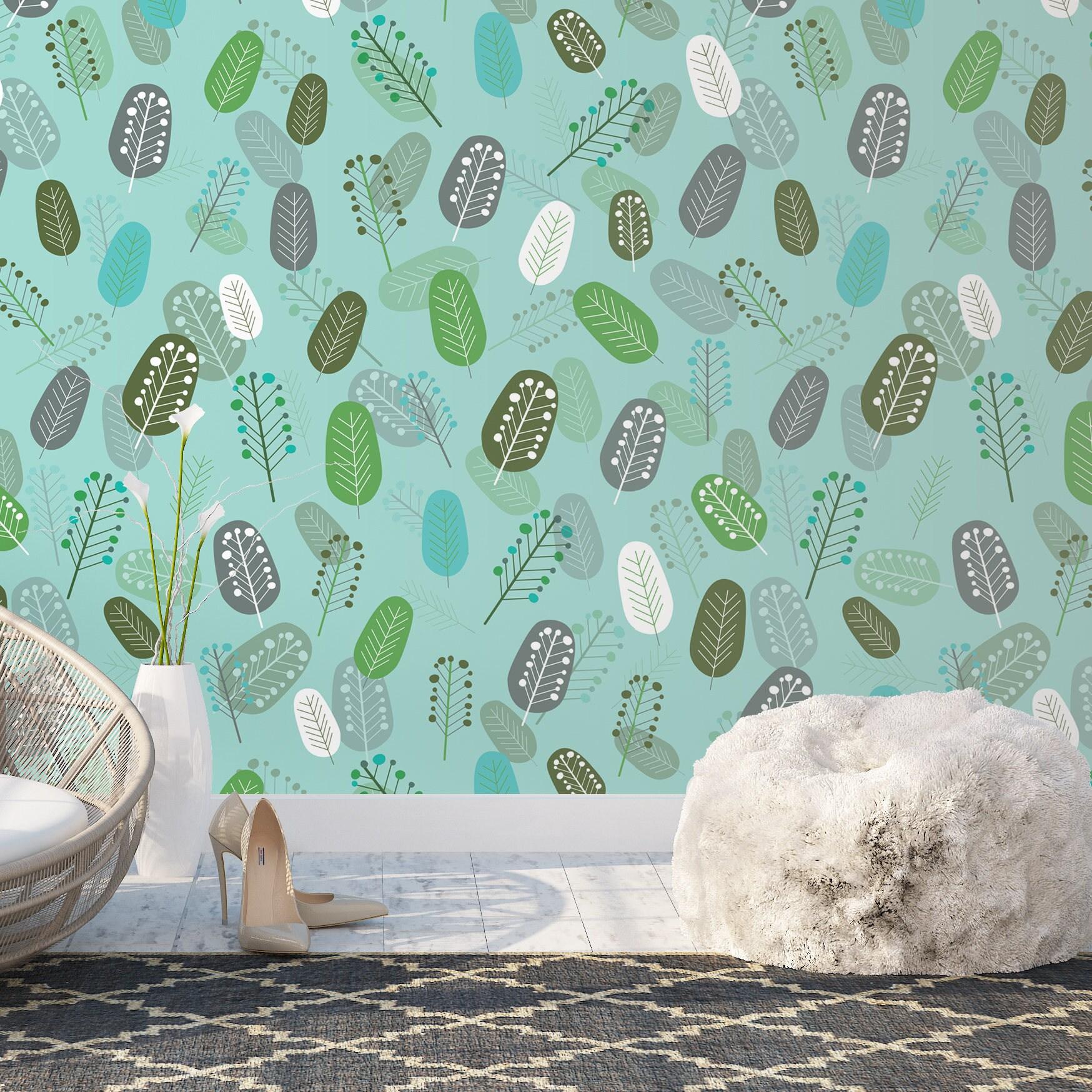 Removable Wallpaper Geometric Leaves Wallpaper Fall Etsy