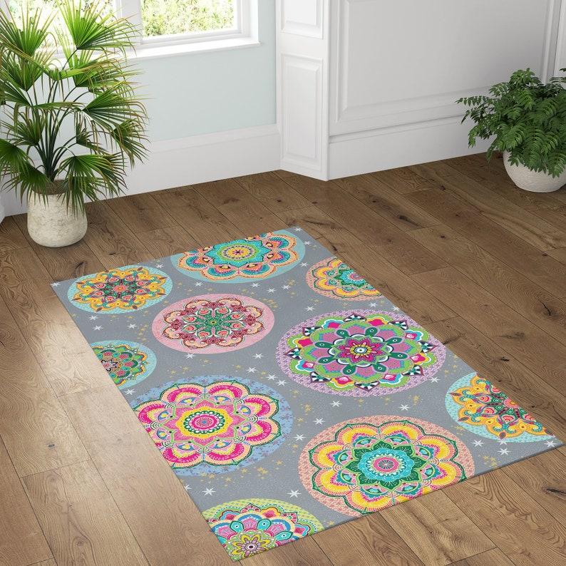 image 0 ... & Floor Vinyl Rug Mandala Kitchen Rug Linoleum Colorful Area | Etsy