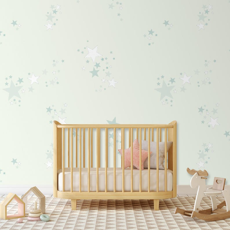Baby Behang Mintgroen.Kinderkamer Behang Star Wallpaper Night Sky Mintgroen Etsy