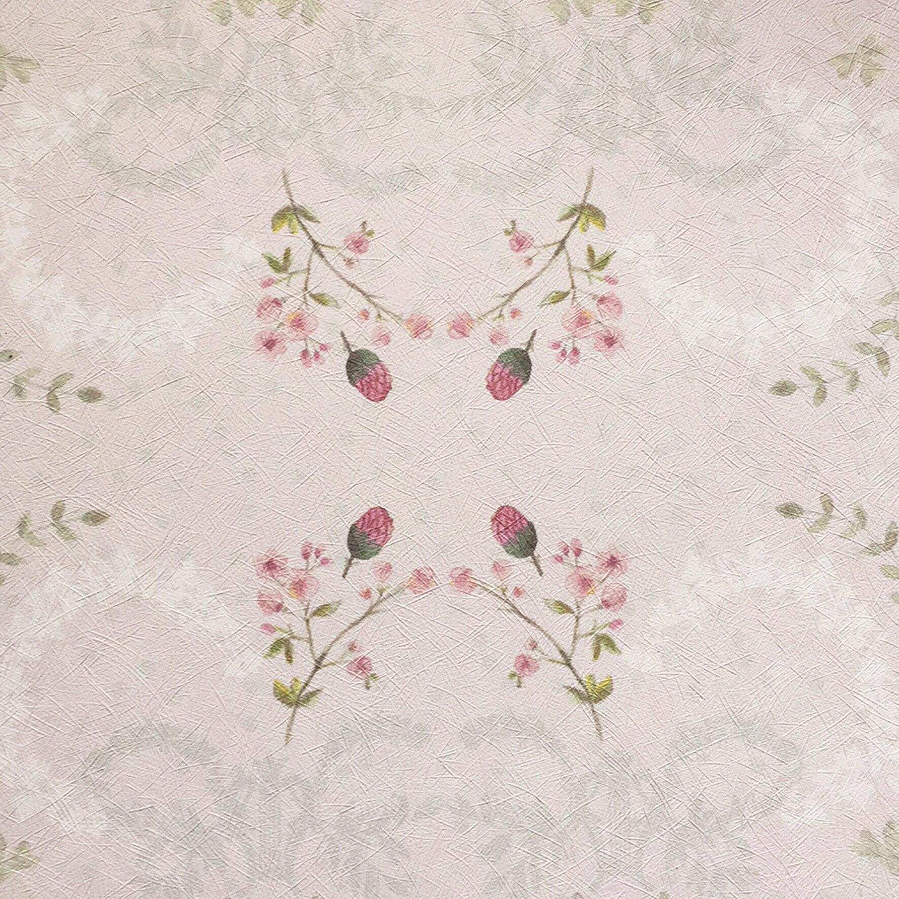 Delicate Pink Wallpaper Vintage Floral Wallpaper Textured Etsy