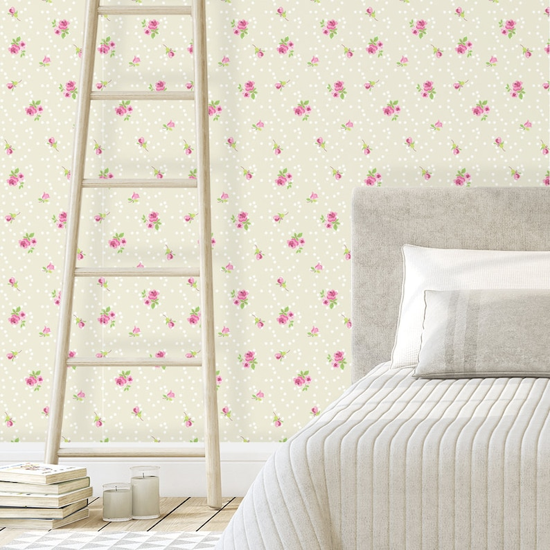 Floral Roses Wallpaper Vintage Romantic Wall Decor Baby Girl Nursery Decor Self Adhesive Wallpaper Removable Wall Mural Wall Covering