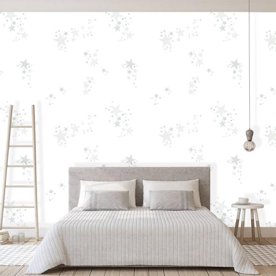 Stars Wallpaper White Bedroom Wall Decor Self Adhesive Wall Etsy