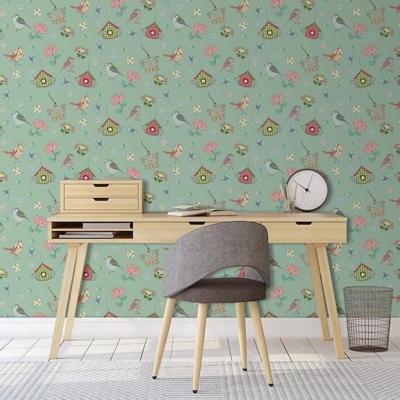 Vintage Bird Wallpaper, Birdcage Wallpaper, Kitchen Backsplash Wallpaper,  Retro Kitchen Wallpaper, Removable Wallpaper, Stick On Wallpaper