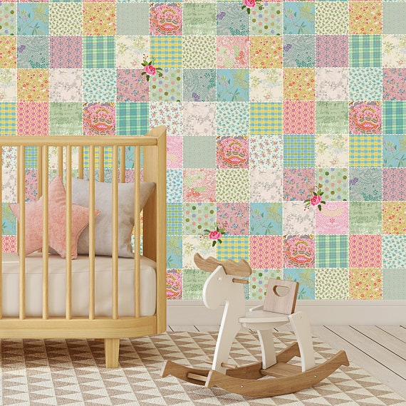 Patchwork Wallpaper Nursery Wallpaper Girls Nursery Wallpaper Girls Bedroom Wallpaper Textured Wallpaper Vintage Decor Boho Wallpaper