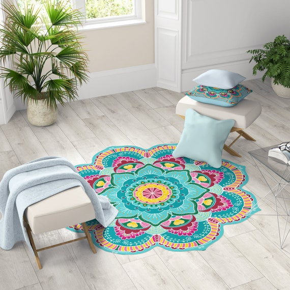 Beautiful Aqua Vinyl Matsmandala Art Anti Slip Rug Turquoise Etsy