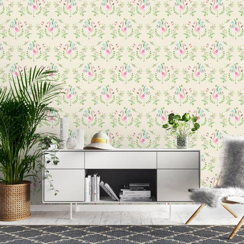 Self Stick Wallpaper Pastel Pink Wallpaper Beige Wallpaper Peel Off Wallpaper Exotic Wallpaper Flamingo Wallpaper Bedroom Wallpaper