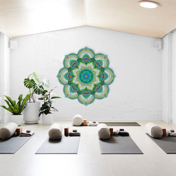 Green Yoga Studio Design Large Mandala Wall Art Wall Stencil Hippie Wall Decor Floral Home Decor Spiritual Wall Decal