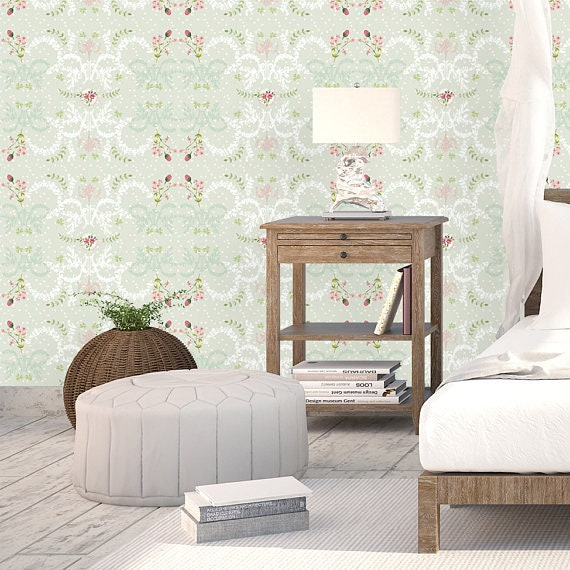 Vintage Rose Wallpaper, Floral Bedroom Wallpaper, Green Textured Wallpaper,  French Style Decor, Romantic Gypsy Wallpaper, Boho Bedroom Decor