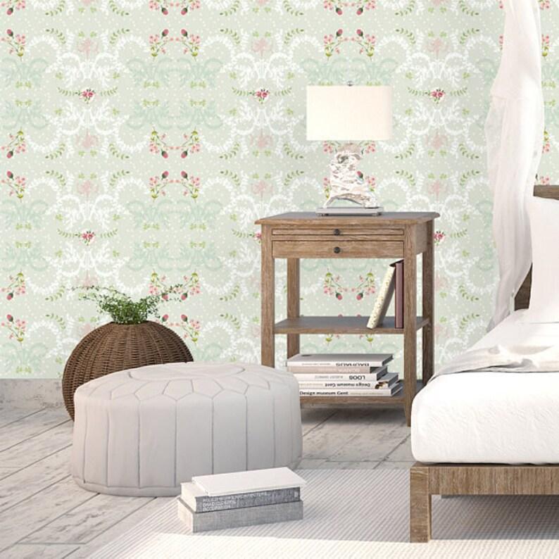 Vintage Rose Wallpaper Floral Bedroom Wallpaper Green   Etsy