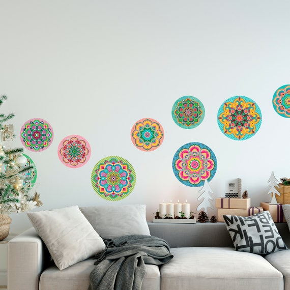 Christmas Wall Decals Removable.Set Of 9 Colorful Mandala Wall Decals Colorful Stickers Mandala Stickers Indoor Decorations Removable Decals Wall Decals