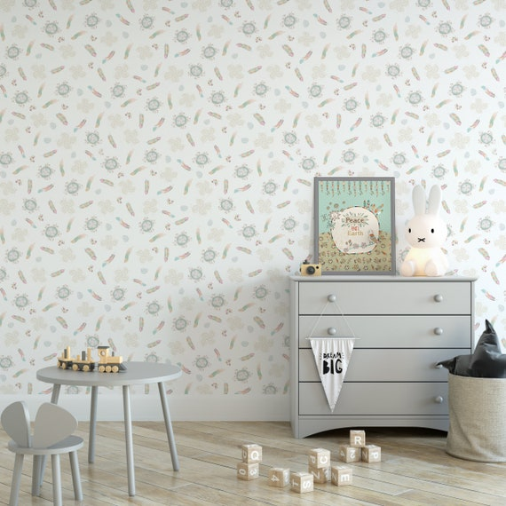 White Removable Wallpaper Peel Stick Wallpaper Feather Etsy